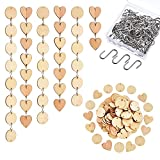 Hicarer 240 Pieces in Total, Christmas Wooden Ornaments Heart Tags with Holes and S Hook Connectors for Birthday Boards, Valentine, Chore Boards and Crafts (Style 1)
