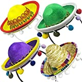 4 PCs Cinco De Mayo Sombrero Headband Hat - Mini Mexican Sombrero Party Hats Decorations for Fiesta Carnival Festivals Birthday Coco Theme and Party Supplies - Sombrero Party Hats