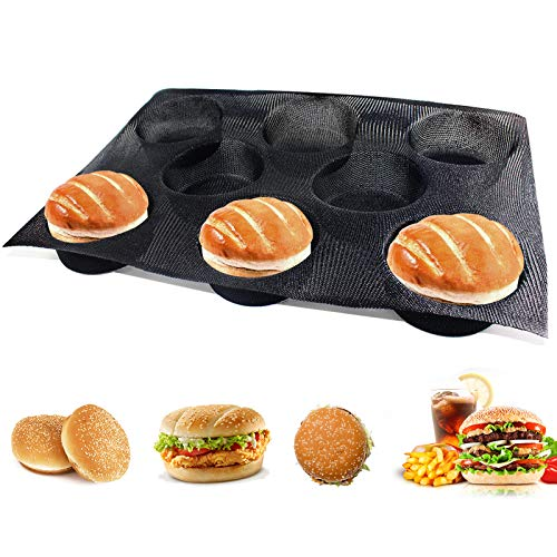 Hamburger Bun Pan Non Stick Silicone Hamburger Bun Mold for Baking Silicone Hamburger Bread Forms Great Perforated Bakery Molds for Gluten Free Buns(8 loaf, 17.1X12.2X1.6 inch)