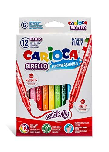 Caja de 12 rotuladores Birello de doble punta, fina y media, colores surtidos