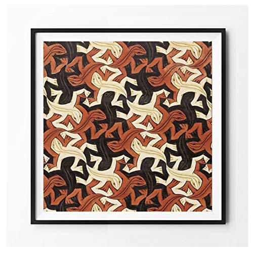 hutianyu Eidechse des niederländischen Künstlers MC Escher Gemälde auf Leinwand Poster drucken Wandkunst Bild für Wohnzimmer -70x70cm ohne Rahmen