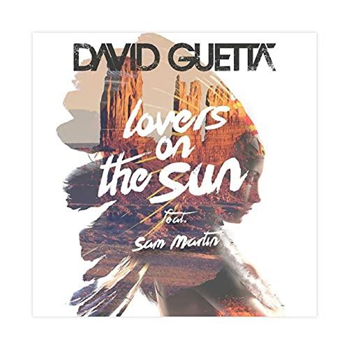 Couverture d'album David Guetta's – Lovers on The Sun Toile Poster Décoration de chambre à coucher, paysage sportif, bureau, chambre, cadeau, sans cadre : 60 × 60 cm