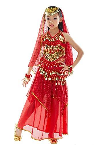 BELLYQUEEN Ragazza Vestito da Danza del Ventre Rosso Belly Dance Set Vestito da Dansa Set 7 pezzi Top Gonna Accessori Vestito Danza Vestito orientale Danza Indiana Costume di Halloween 8-11 anni Rosso