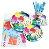 130 Piece Birthday Party Supplies - Serves 16 - Including - 9' Plates, 7' Plates, Napkins, Cups, Forks, Spoons, Knives, And Tablecloths