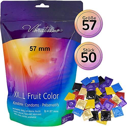AMOR Vibratissimo 57mm Markenkondome XXL-Kondome, 50 Stück, farbig und aromatisiert