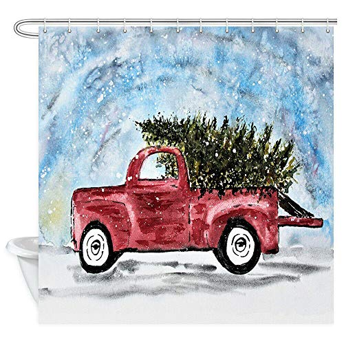 Christmas Car Shower Curtain Sets, Watercolor Retro Red Truck Carrying Xmas Tree-W90xH180cm