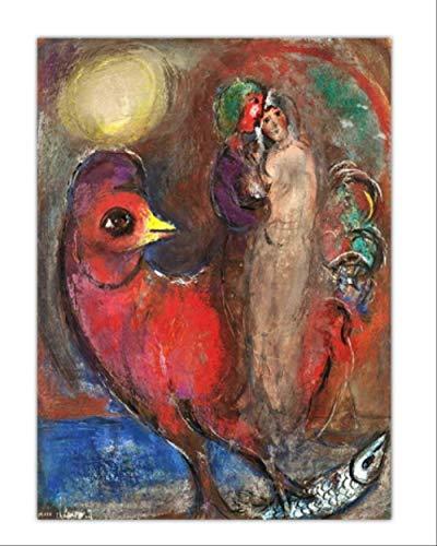 RUIYAN Leinwandbild Wandkunst Modulare Druck Bild Marc Chagall Liebhaber Poster Malerei Replik Leinwand Wohnzimmer Dekoration Ky8T 40X60 cm Rahmenlose