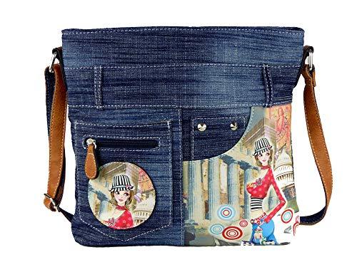 Jeans Look Umhängetasche mit aufgenähten Patches, Nieten und Print auf Kunstleder - Maße ohne Riemen 29 x 26 cm - Damen Mädchen Teenager Tasche - Jeanshosen Bund (blau Hut gestreift)