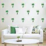 Set of 20 Vinyl Wall Art Decal - Palm Trees - 4' x 3' Each - Sticker Adhesive Vinyl for Home Apartment Workplace Use - Kids Teens Trendy Decor for Living Room Dorm Room Bedroom (4' x 3' Each, Green)