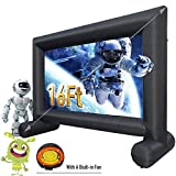 Inflatable Movie Screen 16Ft Outdoor and Indoor Jumbo Theater Projector Screen SEWINFLA for Garden Party - Package with Build-in Fan, Daily Storage Bag - Supports Front and Rear Projection