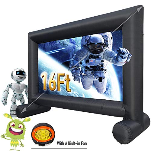 Discover Bargain Inflatable Movie Screen 16Ft Outdoor - Supports Front and Rear - Projection Jumbo T...