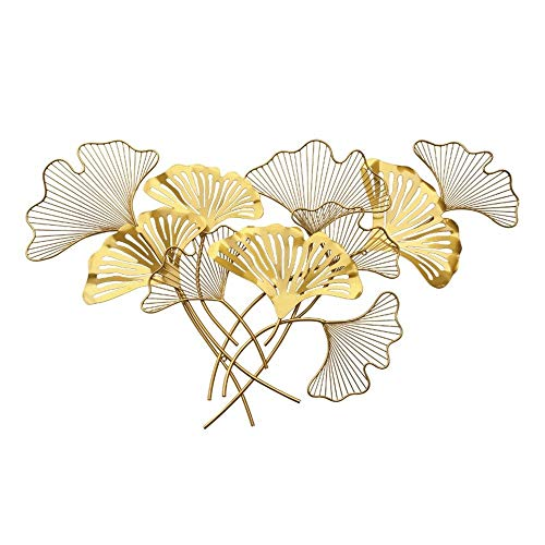 QINQIWD Metallwand Kunst  Handbemalte Gold Ginkgo Leaf Wanddekoration für Schlafzimmer Wohnzimmer Hintergrund Wand Skulptur Ornament (Size : 120X71CM)