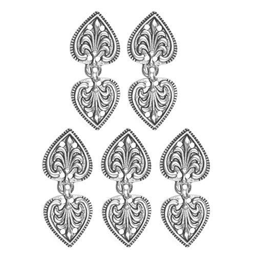 inlzdz 5er Set Vintage Cape Umhang Verschluss Knöpfe Cardigan Clip Pullover Kragen Metallclip Dekorative für Strickjacke Kleider Schal Jacke Silber D One Size
