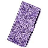 Herbests Kompatibel mit Huawei Mate 30 Pro Hülle Leder Wallet Handyhülle 3D Spitze Henna Mandala Blume Muster Tasche Case Schutzhülle Klappbar Lederhülle Magnetisch Etui mit Kartenfach,Lila