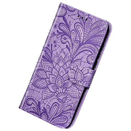 Herbests Kompatibel mit Huawei Mate 30 Hülle Leder Wallet Handyhülle 3D Spitze Henna Mandala Blume Muster Tasche Case Schutzhülle Klappbar Lederhülle Magnetisch Etui mit Kartenfach,Lila