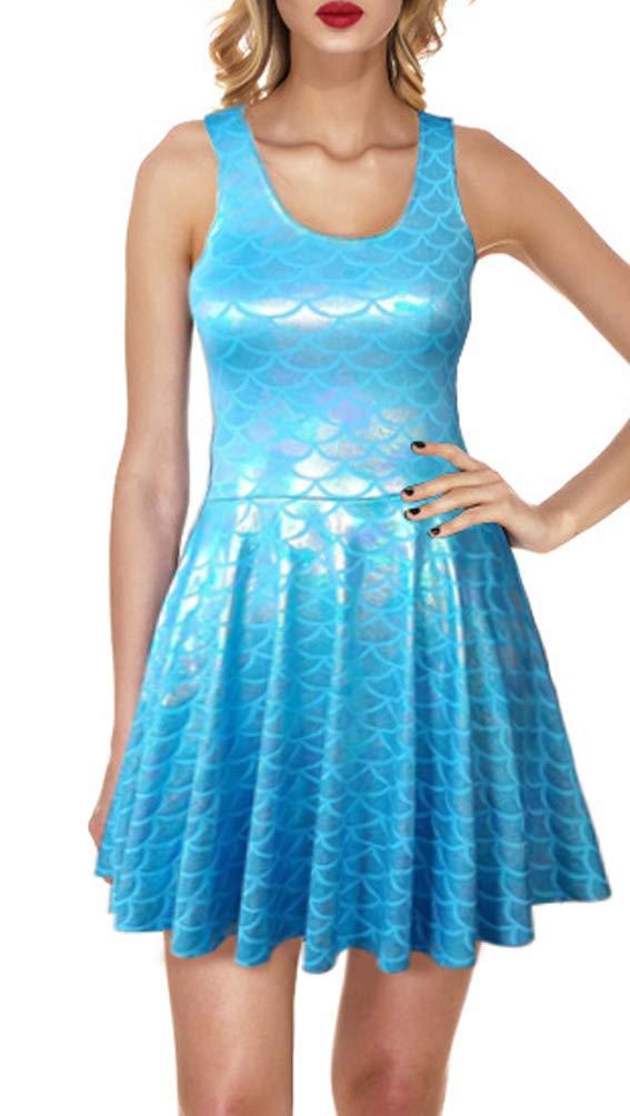 Available at Amazon: Jescakoo Women's Shiny Mermaid Sleeveless Short Tank Dresses
