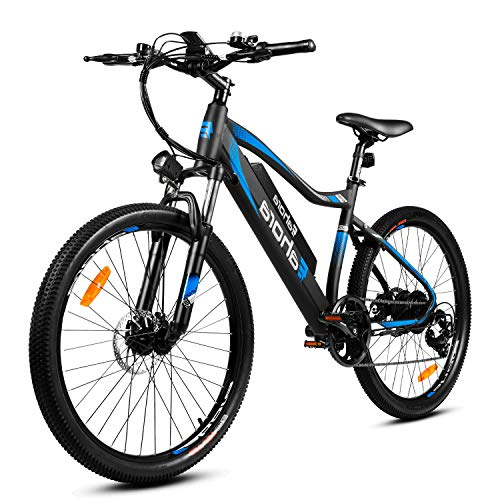 Eahora XC100plus 350W 26' Electric Mountain Bike with 10.4AH Samsung Lithium Battery Shimano 7 Speed Gear Disc Brake Aluminum Bike Frame Good for Commuting Beach Riding Travel