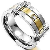 MunkiMix Acero Inoxidable Anillo Ring Banda Venda Cz Cubic Zirconia Circonita Plata Oro Dorado Tono Alianzas Boda Talla Tamaño 20 Hombre