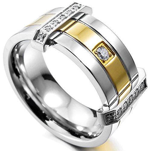 MunkiMix Acero Inoxidable Anillo Ring Banda Venda Cz Cubic Zirconia Circonita Plata Oro Dorado Tono Alianzas Boda Talla Tamaño 12 Hombre