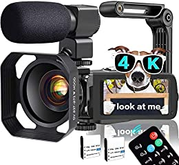 Video Camera, TLPUHU 4K Camcorder WiFi Ultra HD 48MP YouTube Camera for Vlogging, 3.1'' IPS Screen 18X Digital Zoom Video Camera with Microphone, 2 Batteries, Handheld Stabilizer(SD Card not Included)