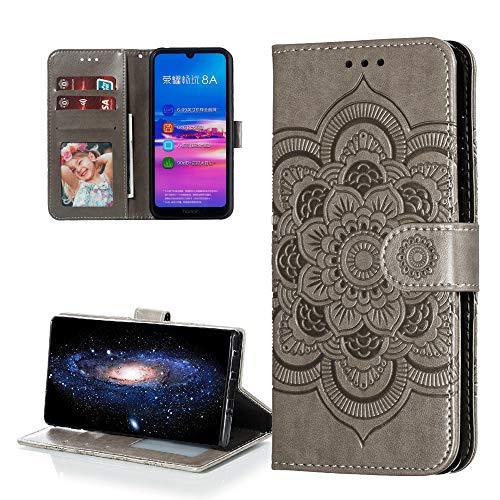 COTDINFOR Etui für Huawei Y6 2019 Hülle PU Leder Cover Schutzhülle Magnet Tasche Flip Handytasche im Bookstyle Stand Kartenfächer Lederhülle für Huawei Honor 8A / Y6 2019 Gray Mandala LD.