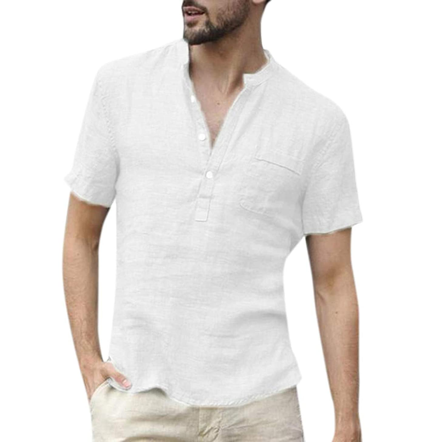 Nadition Casual Cotton Linen Tunic Top ? Men's Summer Pure Color Tops Retro V Neck Lightweight Comfy T Shirts Blouse
