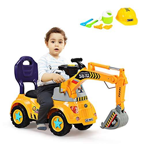 COSTWAY Sitzbagger mit Musik, Soundeffekt und Lichter, Kinderbagger mit eingebautem Ablagefach, Sandbagger,...