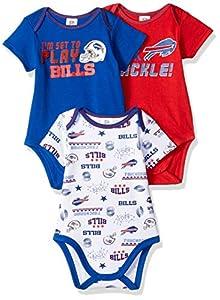 NFL Buffalo Bills Baby-Boy 3 Pack Short Sleeve Variety Bodysuit, Team Color, 0-3 Months