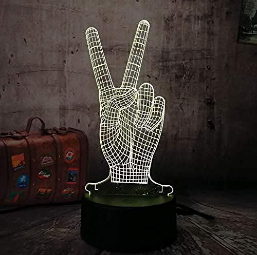 3D Lampe Illusion Optic Led Nachtlicht New Night Light Der Finger des Sieges 3D Nachtlicht 3D Led Lampe Taschenlampe Bunte Luminaria Für Champion Weihnachtsdekoration Für Zuhause Usb refill