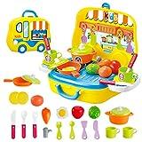 TQIU Küchenspielzeug Mini Family Set Set Spielzeugset Pretend Play Toy Set für Kinder Koffer Kit Küchenspielzeug Kinderküchen Spielzeugset, Kochgeschirr Töpfe und Pfannen Set