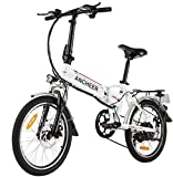 """ANCHEER Folding Electric Bike for Adults, 20"""" Electric Bicycle/Commute Ebike with 250W Motor, 36V 8Ah Battery, Professional 7 Speed Transmission Gears (White)"""