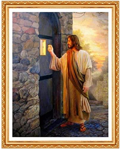 Kit de Punto de Cruz,11CT Estampado Kit punto de cruz con Hilos,Jesús vino a llamar al cristianismopara niños o adultos principiantes,DIY Kits de bordado para Decoración hogareña 40×50cm