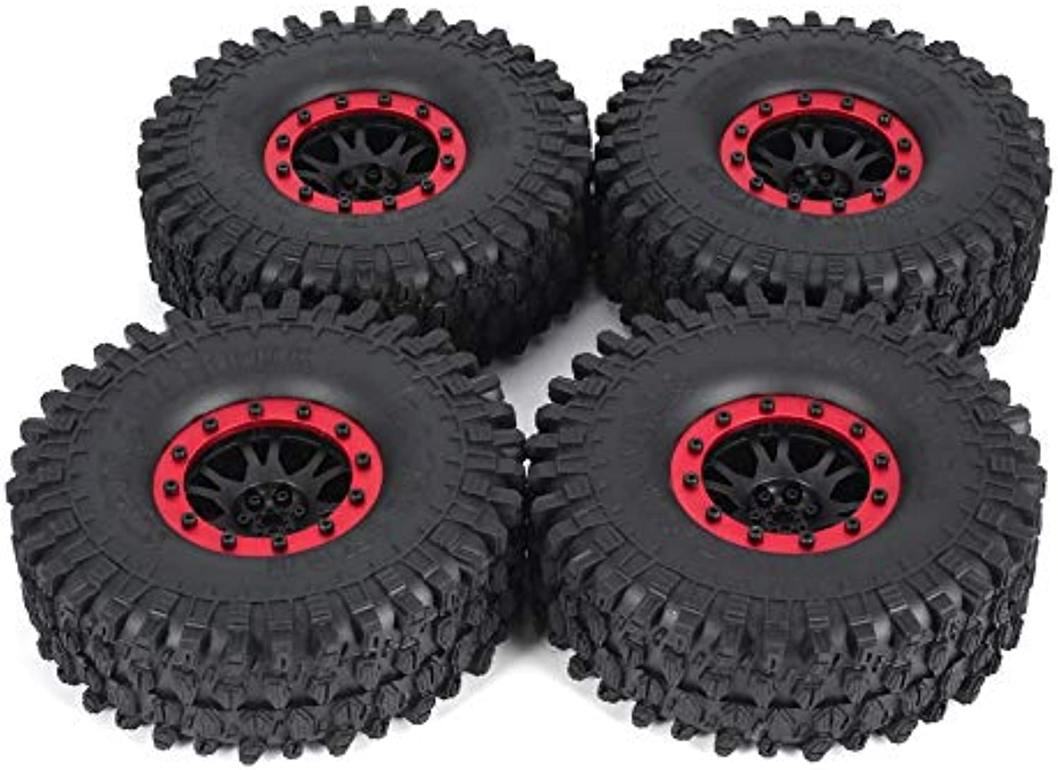 4pcs AUSTAR 5020 110mm 1.9in Rim Rubber Tyre Tires Beadlock Wheel Set for Axial SCX10 RC4WD D90 1 10 RC Crawler Car Model