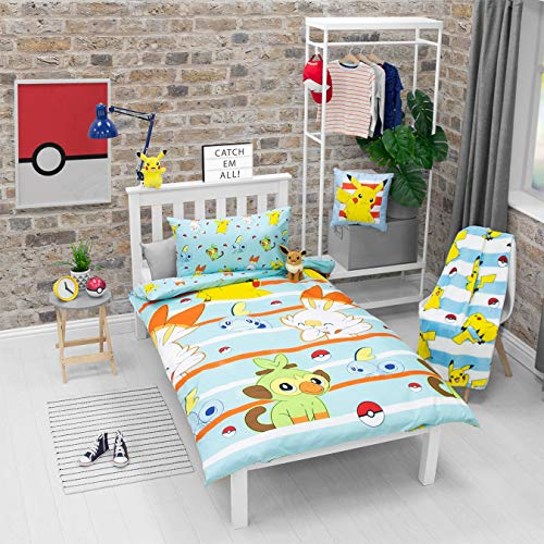 Pokemon Jump Single Duvet Cover | Featuring Pikachu, Grookey, Scorbunny, and Sobble Inc | Officially Licensed Blue Polyester Reversible Two Sided Design