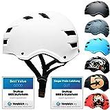 SkullCap® BMX & Casco per Skater Casco - Bicicletta & Monopattino Elettrico, Design: Whit...