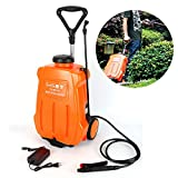 NICE CHOOSE Backpack Sprayer, 16L Portable Electric Backpack Garden Weed Sprayer Battery Powered Trolley Sprayer with Wheels for Farm Lawn Yard Fertilizing Watering - Orange