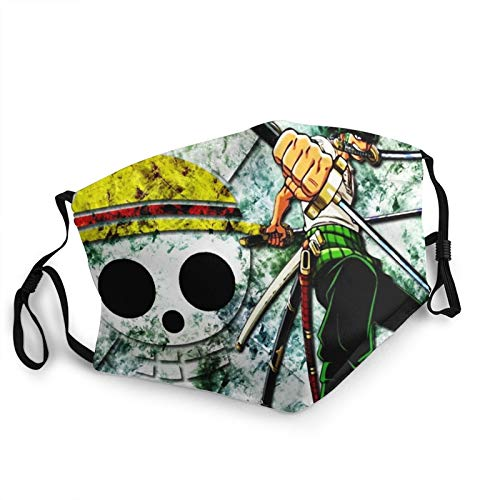 Anime One Piece Roronoa Zoro Santoryu Face Mask Windproof Adjustable Breathable Face Cover For Men And Women Balaclava Bandanas With Filter Pocket Made In Usa