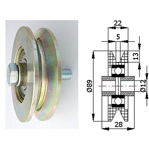 Zabi Fahrbahnrollen metallrollen für T-Profil d = 89 mm , Transportrollen