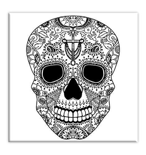 Sugar Skull Coloring Canvas For Adults, Stretched primed canvas 8 x 8 Inches