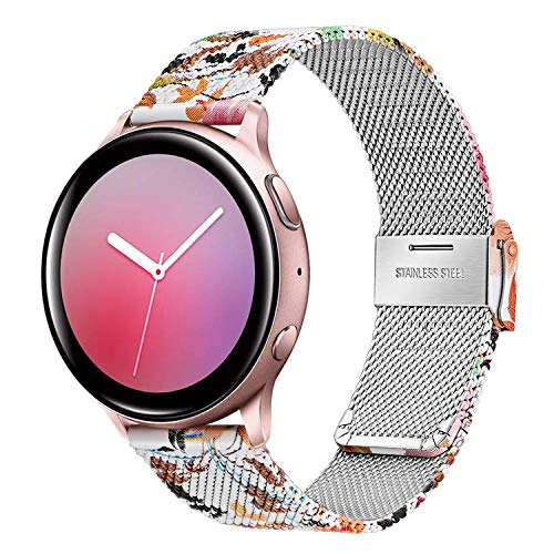 TRUMiRR Women Camo Band for Galaxy Watch Active2 40mm 44mm Pink Gold, Mesh Woven Stainless Steel Watchband Quick Release Strap Wristband for Samsung Galaxy Watch Active 2 40mm 44mm SM-R830/R820