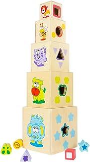 WOOMAX Torre 5 cubos madera 52 cm y 5 figuras geométricas (ColorBaby 43609)