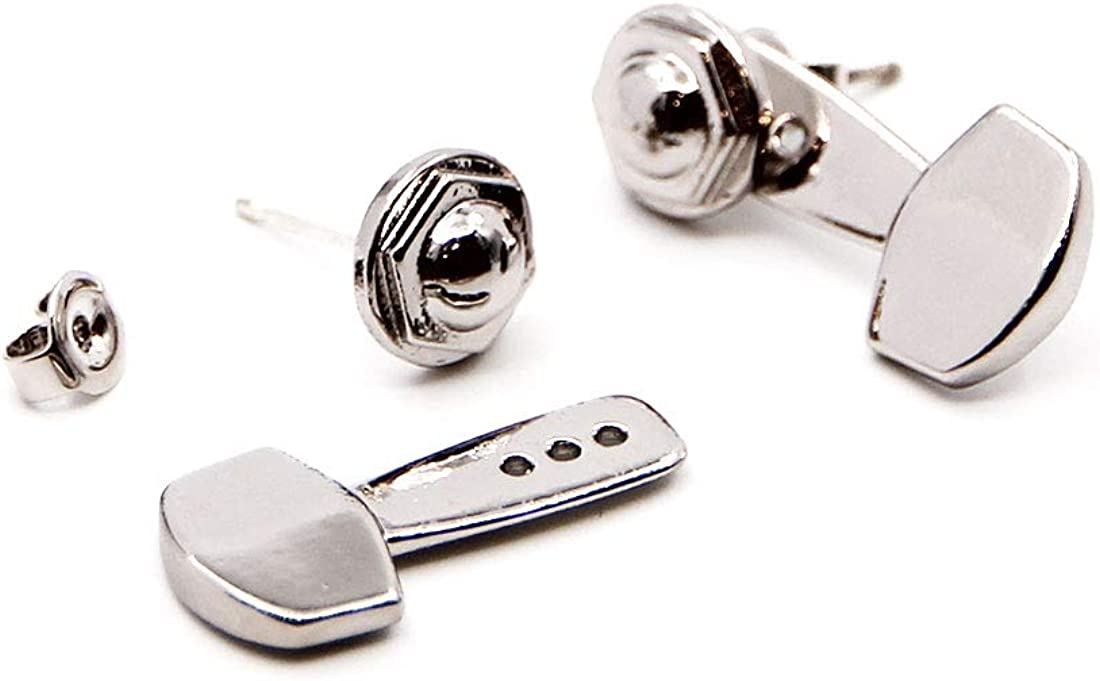 PICKRING Guitar Machine Heads Ear Jacket Earrings for Music Lovers//classic guitar tuning pegs guitar tuners front back stud earrings guitarists gifts