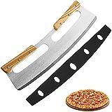 Tagliapizza, Coltello Pizza in Acciaio Inox 35cm con Manico in Legno, Coltello da Pizza Veloce e Anche Professionale (Argento)