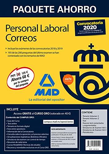 Paquete Ahorro Personal Laboral Correos 2020. Ahorra 68 € (incluye Temarios 1 y 2; Test; Nuevos...