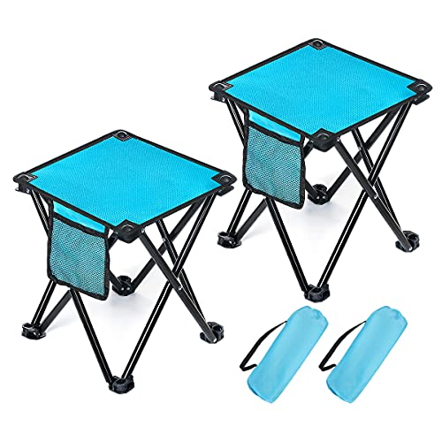 BRGOOD Camping Stool, 2 Pack Folding Samll Chair Camp Stool Portable Folding Stool for Outdoor Activities Camping Fishing Hiking Gardening with Carry Bag Blue