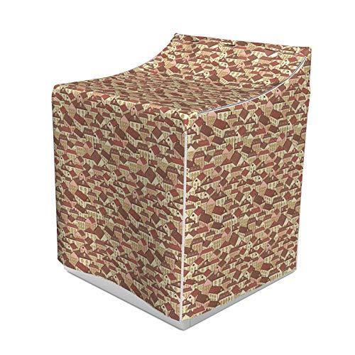 ABAKUHAUS Abstrakt Waschmaschienen und Trockner, Stadthäuser Muster mit kühlen Fliesen Dach Städtische Architektur Leben in der Stadt, Bezug Dekorativ aus Stoff, 70x75x100 cm, Creme Coral Schokolade