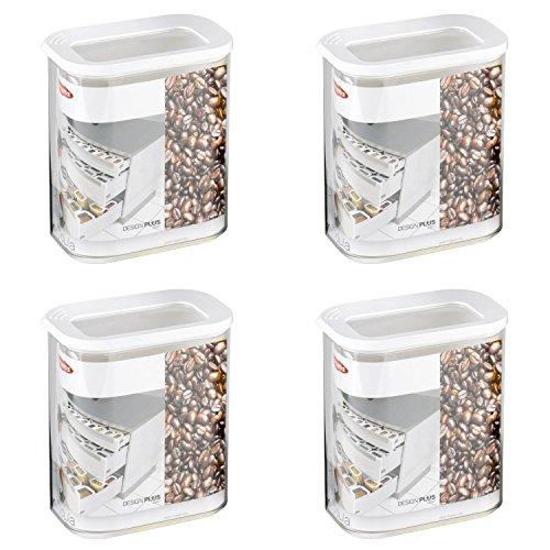 Mepal 106912030600 Modula Vorratsdose, Kunststoff, 1500 ml, transparent/weiß (4er Pack)