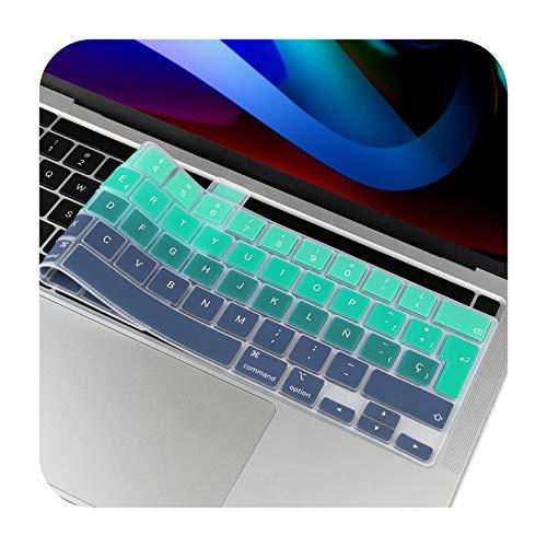 Más nuevo Pro 13 2020 A2251 A2289 A2338 M1 Pro 16 pulgadas A2141 UE ruso Español Inglés teclado cubierta silicona piel gradiente verde