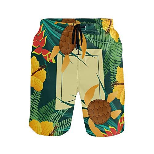 Hunihuni Herren Strand Shorts Tropische Tiere Schildkröte Drawsting Badehose Badeanzug Bademode Netzfutter mit Tasche Gr. L/XL, Mehrfarbig