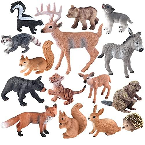 ELECLAND 15Pcs Figurines d'animaux des Bois Figurines d'animaux de la forêt Miniatures Créatures des Bois Figurines Woodland Cake Topper pour Enfants d'anniversaire, Décorations de fête de Noël